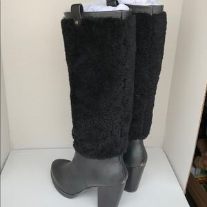 faee0f1fd1a 💖New Ugg Ava Exposed Fur Black tall boots Size 7 NWT